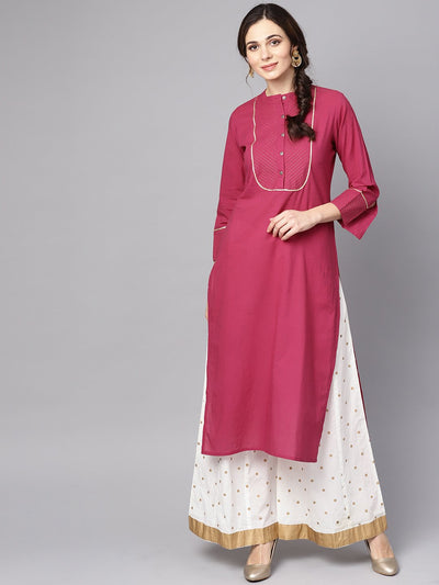 Burgundy Kurta Detailed with Gotta & Golden thread stitch at Yoke
