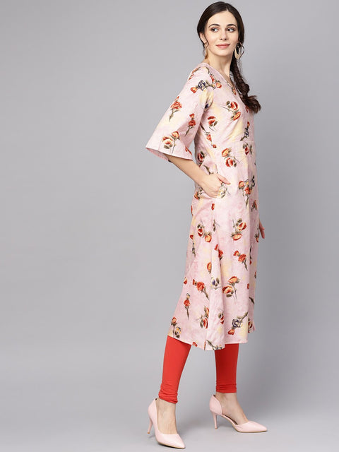 Pastel Pink floral printed kurta with V-neck & bell sleeves
