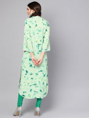 Green Tie & dye kurta with Mandarin collar with flared sleeves