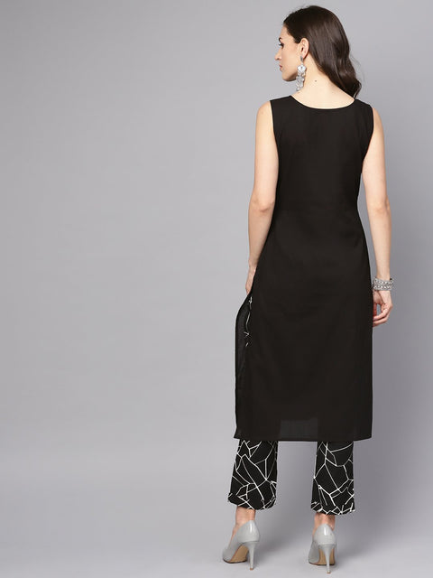 Solid Black Sleeveless Kurta Set with Printed Pants