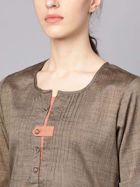 Solid Brown half sleeve cotton kurta with solid Peach pants