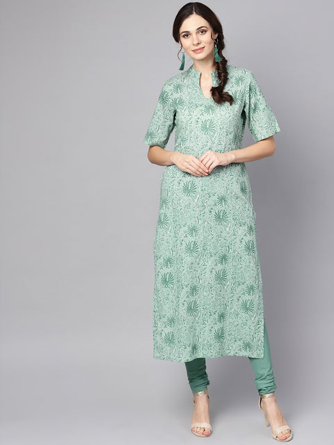 Pastel Green Kurta with stand collar & 3/4 sleeves