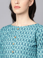 Blue Checked Pleated kurta with Round neck & 3/4 sleeves