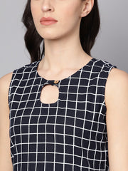 Black & White Checked Assyemtric kurta with Keyhole Neckline