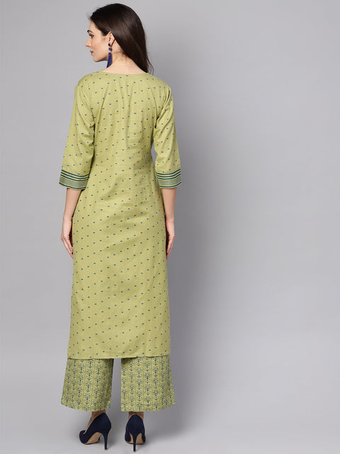 Green printed 3/4th sleeve cotton kurta with printed palazzo