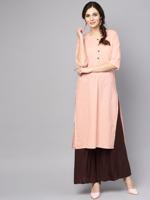 Solid Peach 3/4th sleeve cotton kurta