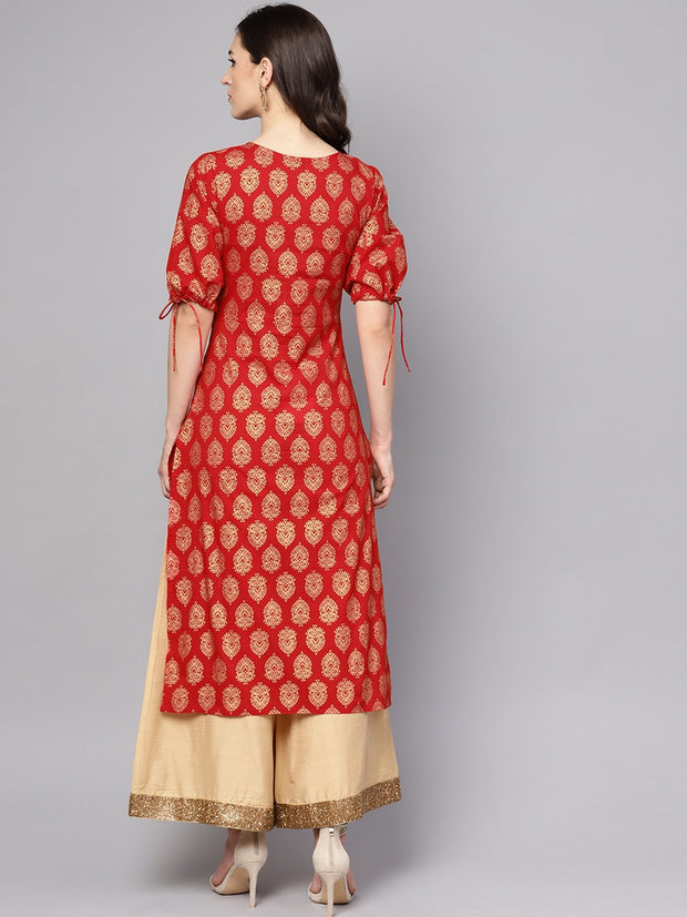 Red printed half sleeve cotton straight kurta