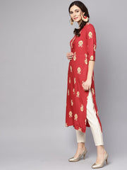 Red printed short sleeve rayon straight kurta