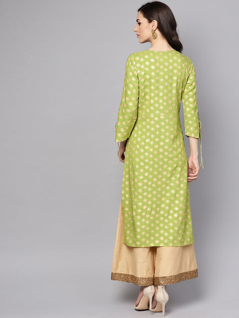 Green printed 3/4th sleeve rayon printed kurta