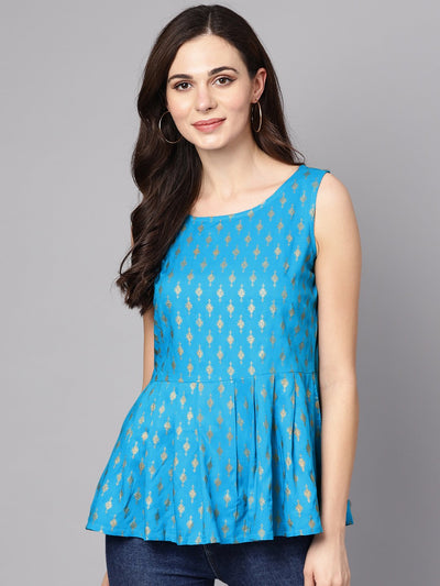 Light blue sleevless a-line Rayon crop top