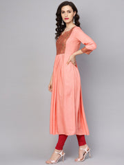 Solid peach 3/4th sleeve rayon maxi dress
