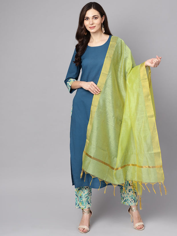 Blue printed 3/4th sleeve cotton kurta with printed palazzo and dupatta