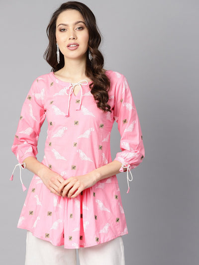 Bird Print white khadi light pink tunic with dori detailing