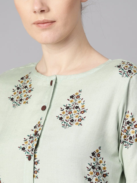 Floral printed assymetrical kurta with solid chocolate brown palazzo
