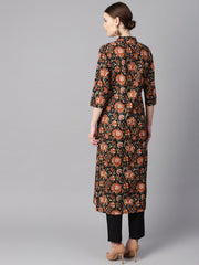 Floral Printed 3/4th sleeve a-line kurta with solid black pants