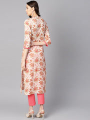 Multi colored floral printed straight kurta with detailed cuff with solid pink pants