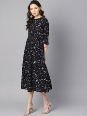 Quirky spoon print box pleated dress with frilled sleeves