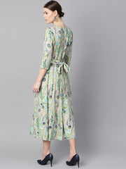 Floral Print Dress with gathers in centre with a belt at the back