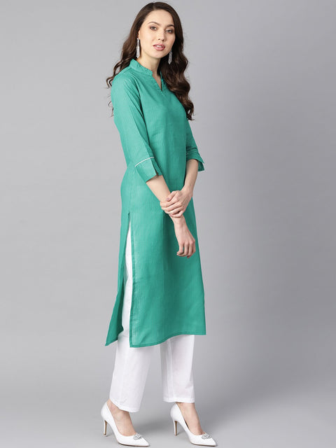 Solid Green tagai-work straight kurta with detailing on the cuff with white straight pants