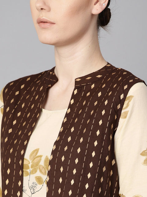 White floral gold printed round neck 3/4th sleeve printed maxi with brown geometrical gold printed jacket.