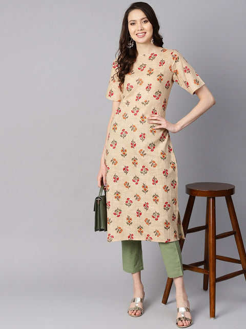 Beige floral printed  Boat neck half sleeve straight kurta with solid pants.