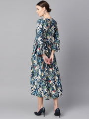 Blue multicolored quirky floral printed high neck back hook closure 3/4th flared sleeves gathered dress.