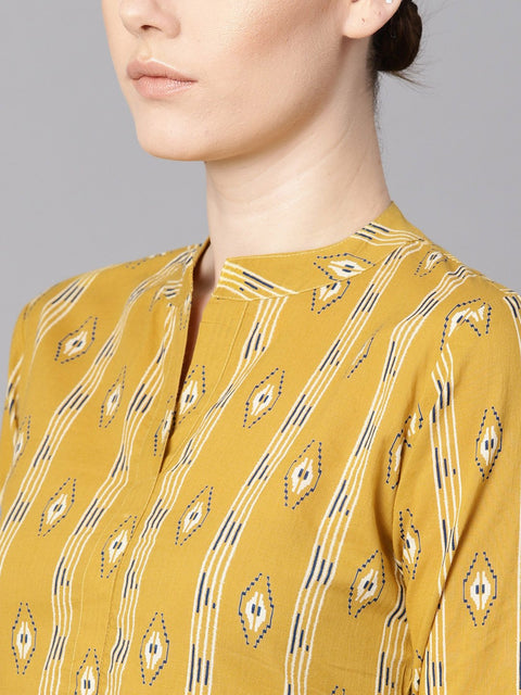 Mustard yellow color ikat printed chinese collar dress with placket opening.