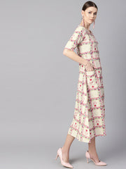 White floral ikat print Square neck Aline dress with front pockets.