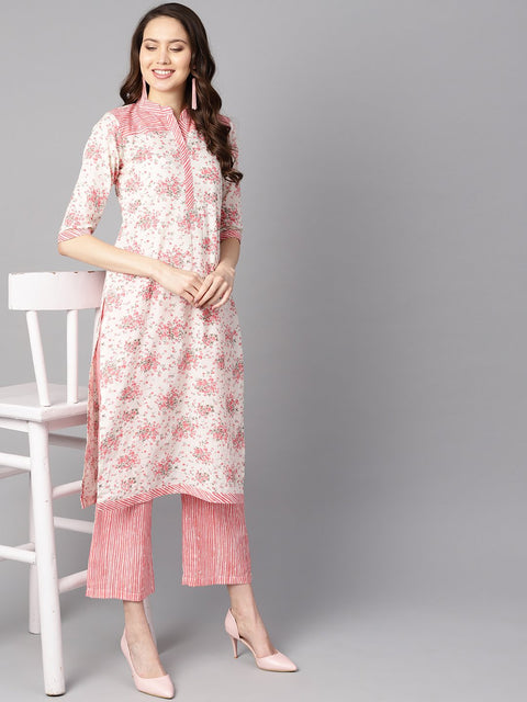 Off-white floral printed straight kurta with stripped yoke and cigratte pants.