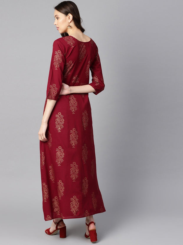 Maroon high-low Gold printed kurta with brown printed skirt