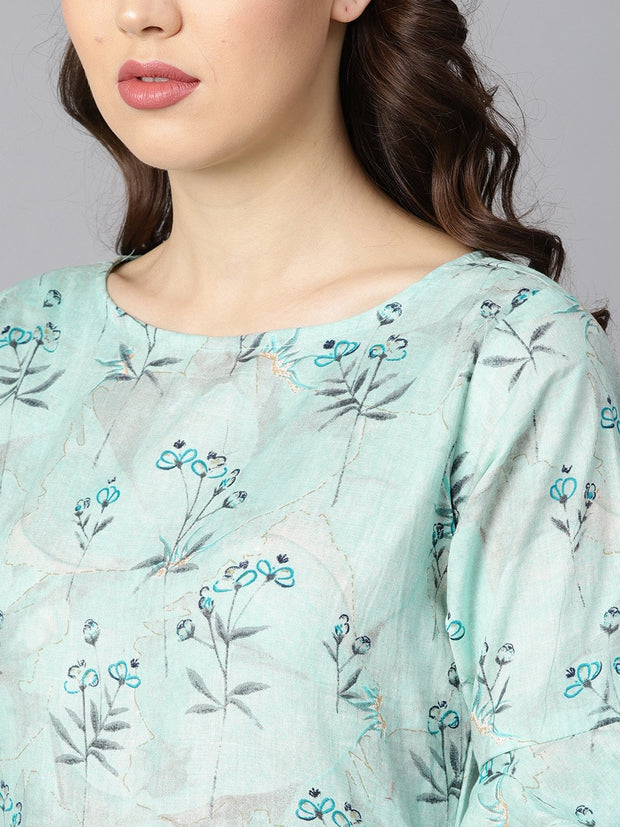 Sky blue floral Printed dress with flared sleeves