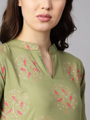 Pista green floral printed 3/4th sleeve kurta with pista green printed pants.