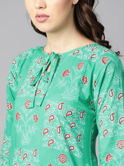 Rama green floral print round neck with keyhole tassel kurta