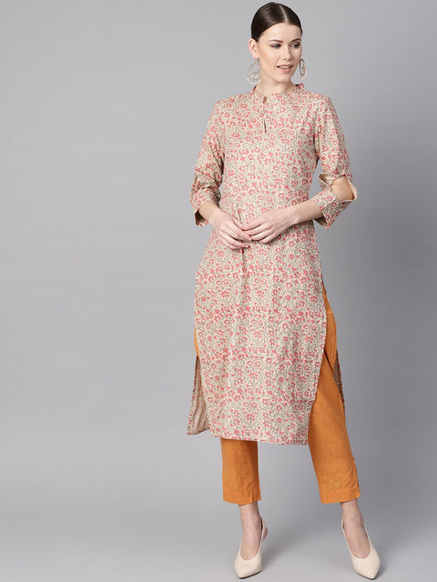AASI - HOUSE OF NAYO Floral Printed Straight Kurta with 3/4 sleeves and cut-out detailing