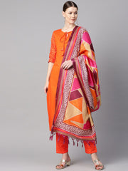 Solid Orange kurta with Pants & Multi coloured dupatta