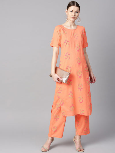 Peach floral sort Printed kurta set with printed pants