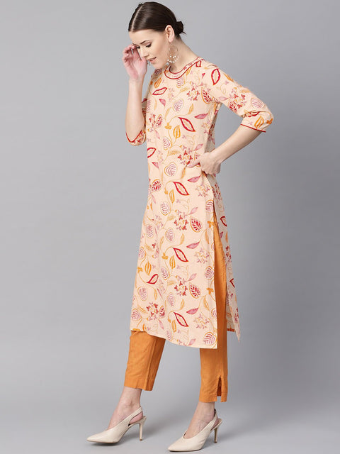 Cream Floral Printed Straight Kurta with Round neck & 3/4 sleeves