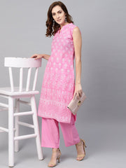 Pink Printed sleeveless Kurta set with solid Pants