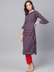 Indigo Blue Multi Colored Printed Kurta Set with Solid Red Pants