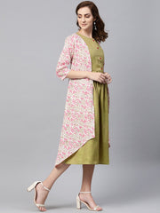 Olive Green A-line Dress With White Floral Printed Jacket