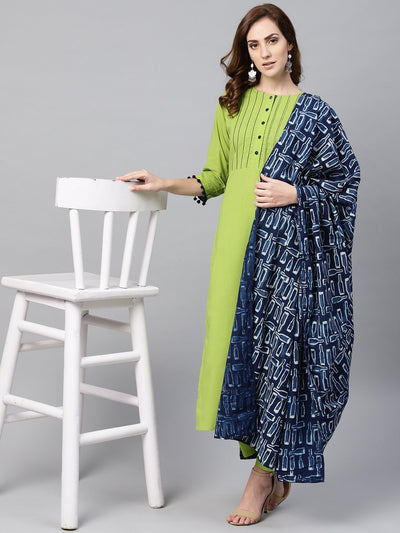 Lime Green Kurta Set with Pants & Mul Printed Dupatta