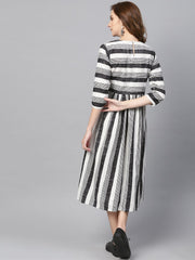 Black & Wihte Stripped Dress With Round Neck & 3/4 Sleeves