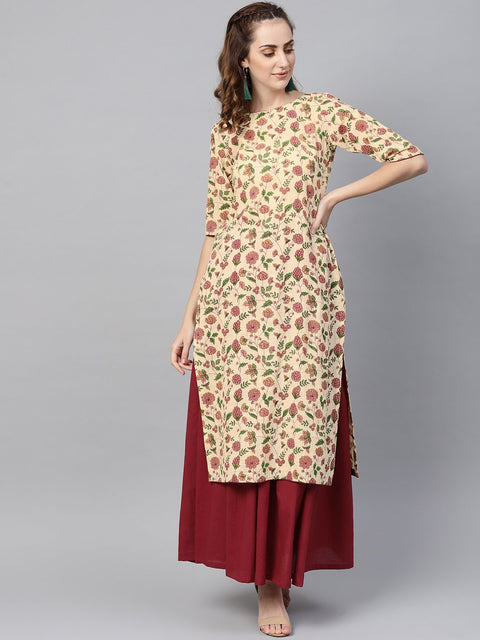 Cream Multi Colored Kurta Set with Solid Dark Maroon Skirt