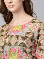 Beige Multi Colored Straight Kurta Set with Solid Light Pink Pants