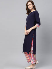 Navy Blue 3/4th sleeve Kurta Set with Printed Palazzo