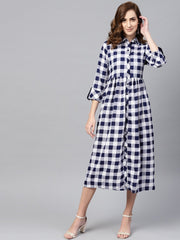 Electric Blue Checked Shirt Collar Dress with Front Placket & Cuff