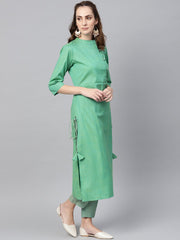 Turquoise Green Straight 3/4th sleeve cotton Kurta Set with Pants