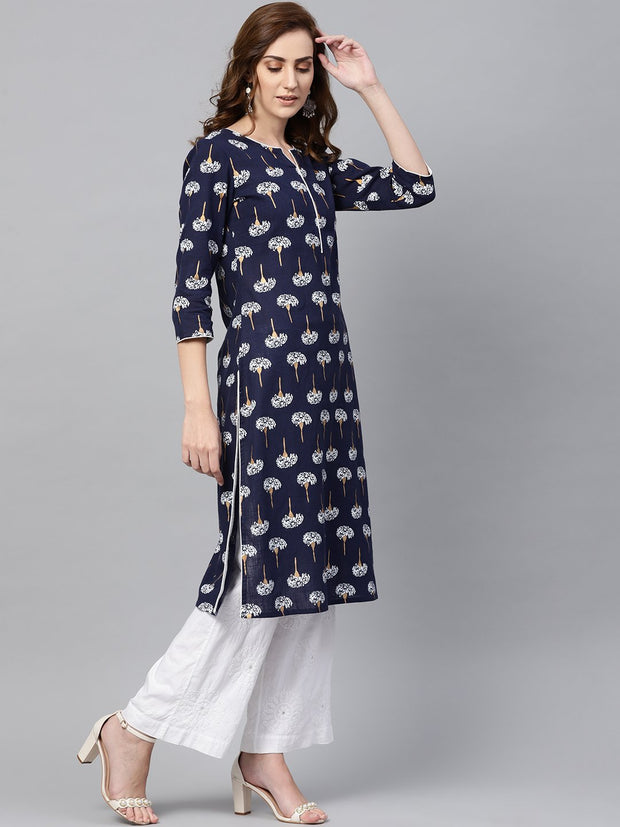 Navy blue 3/4th sleeve cotton straight kurta