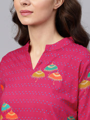 Pink 3/4th sleeve umbrella printed cotton kurta