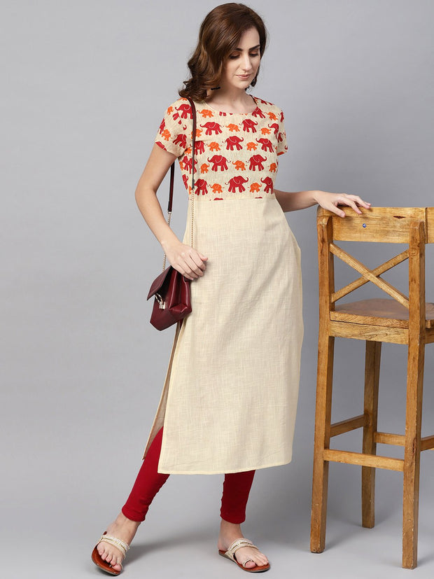 Off white elephant printed cap sleeve kurta